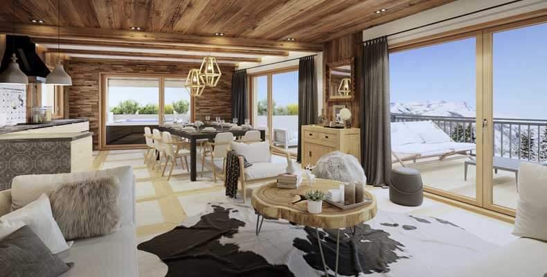 De appartementen van ski in ski out Chalets Cocoon zijn ruim en hebben een fantastisch uitzicht over Val Thorens © OT Val Thorens