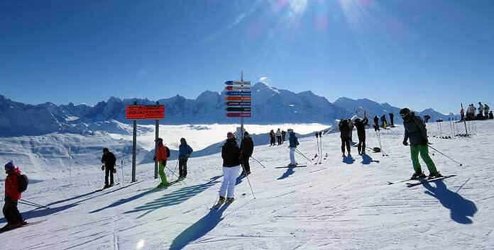 In het skigebied van Flaine zit je rondom tussen de vierduizenders en kun je alle kanten op © WintersportFrankrijkGids.nl