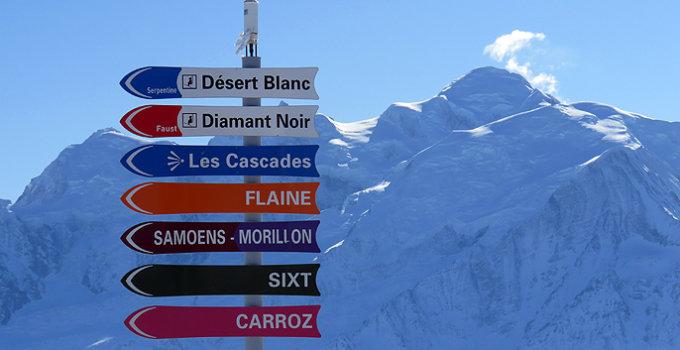 Alle dorpen (op Flaine na) van skigebied Le Grand Massif op een rij. Rechts de Mont Blanc © WintersportFrankrijkGids.nl